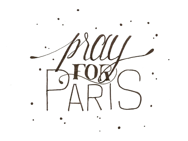pray for paris lettering by meganvlt