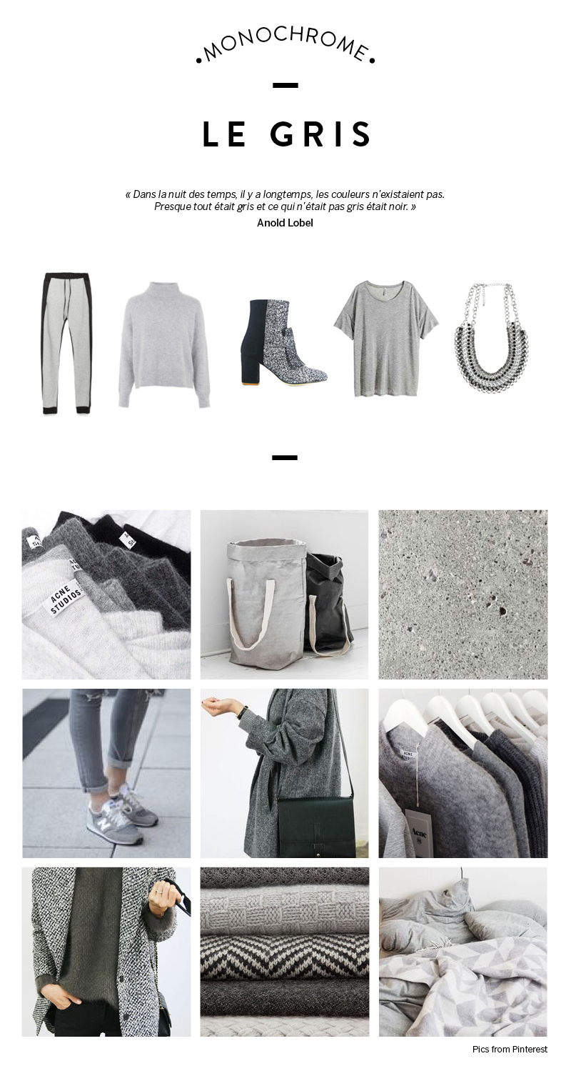 mode monochrome gris