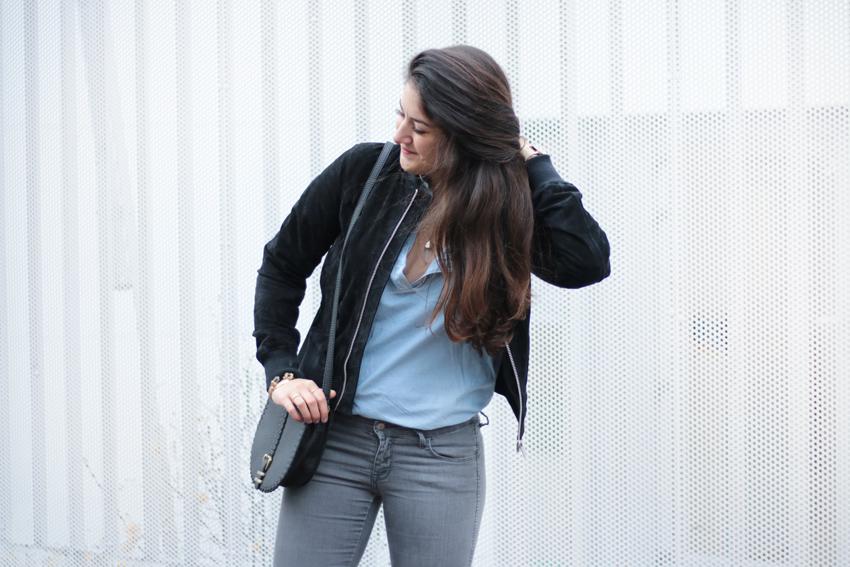 Bomber daim et chemise en jean