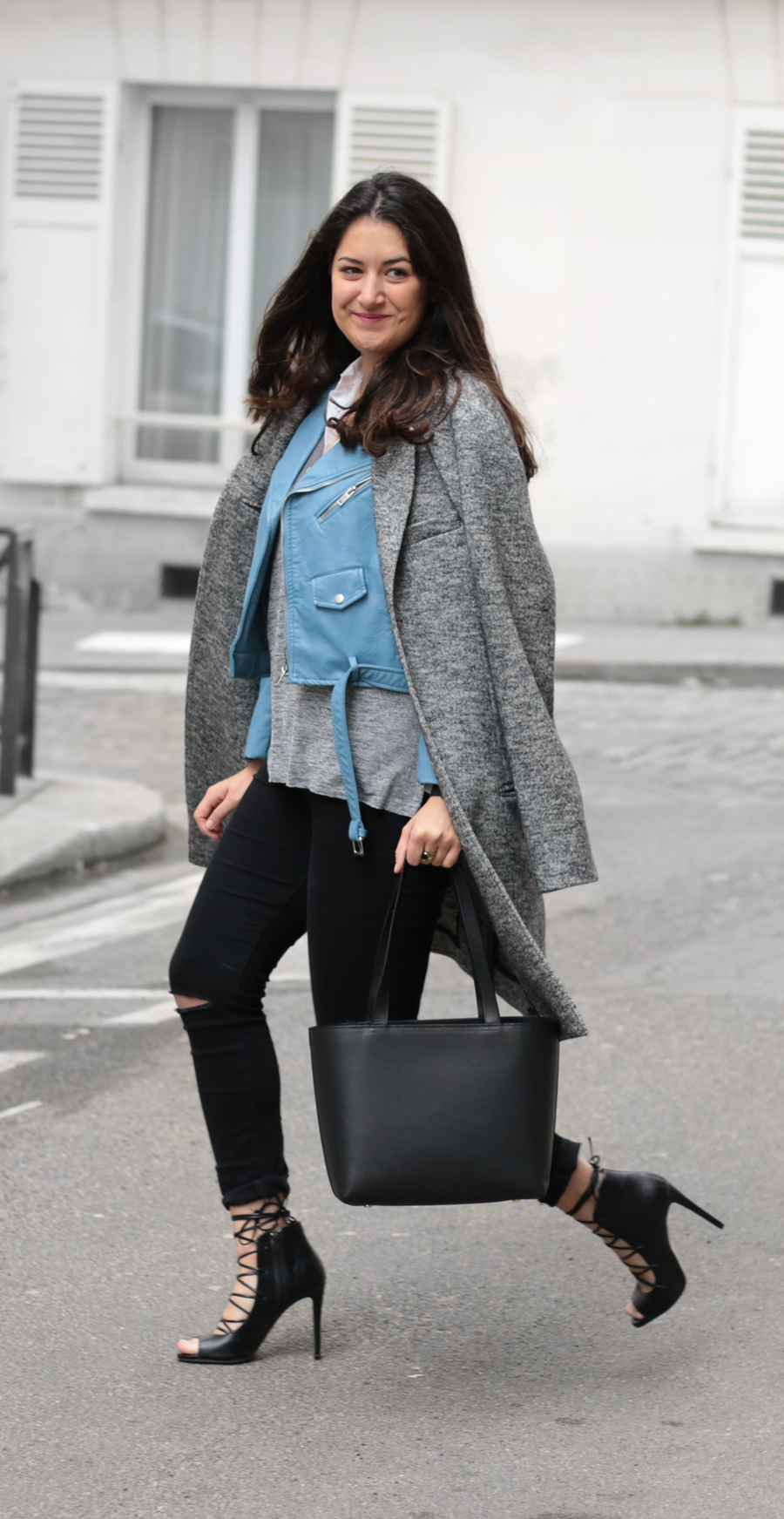 Perfecto bleu + long coat meganvlt