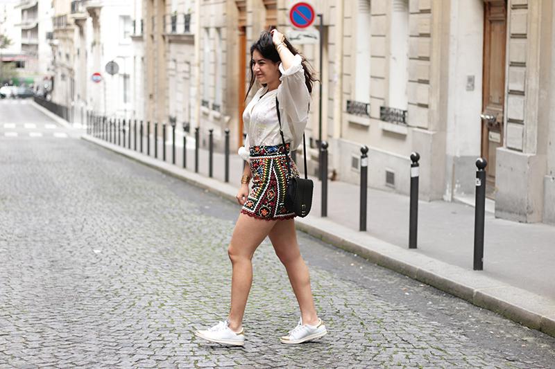 Jupe brodée zara + sac asos + lingerie princesse tam tam by meganvlt www.meganvlt.com