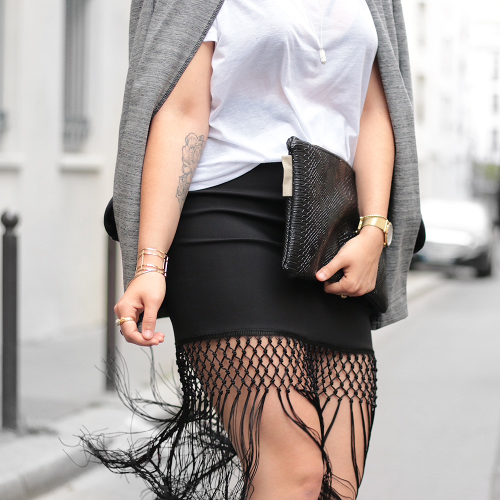 blog mode - Skirt franges Missguided + sneakers adidas + kiabia jacket