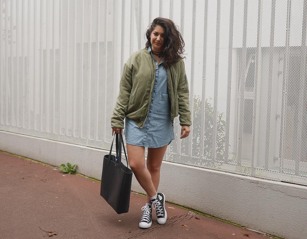 blog mode - denim dress - sac sud express - converse blank canvas - meganvlt
