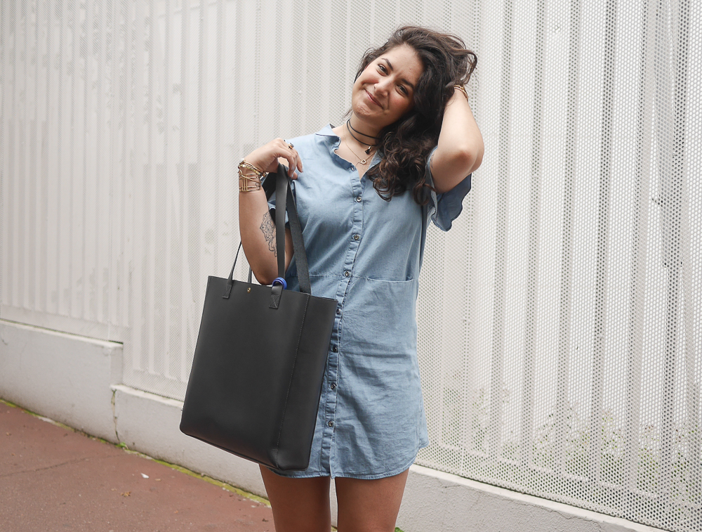 blog mode - denim dress - sac sud express - converse blank canvas - meganvlt