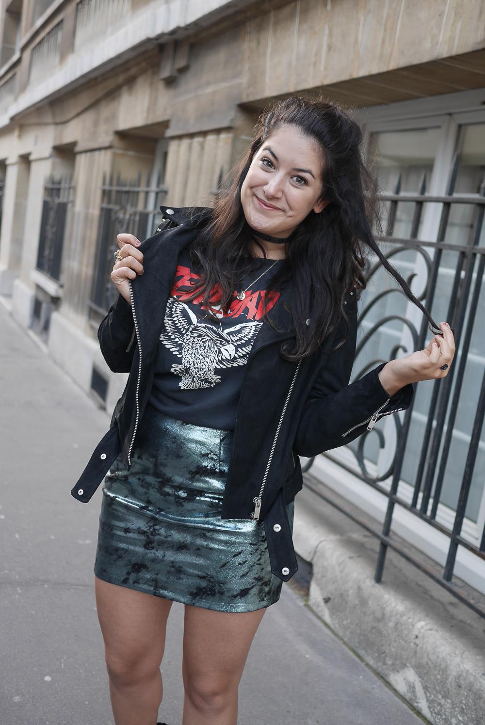 metallic skirt // tee biker // meganvlt