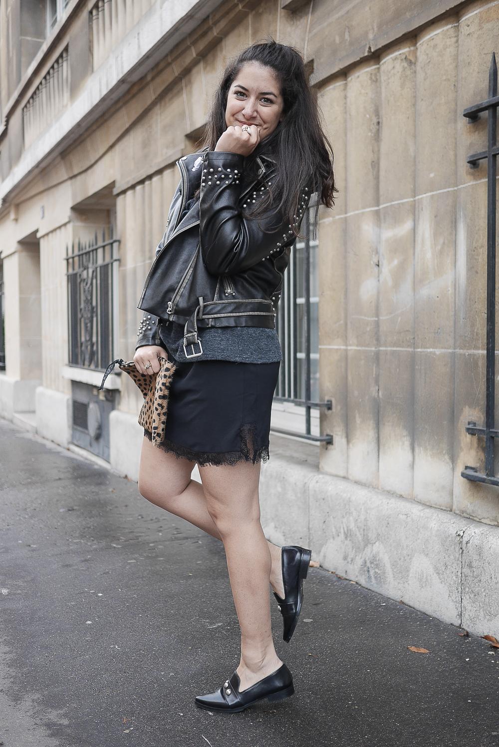 biker veste jupe dentelle lace pull pochette leopard meganvlt