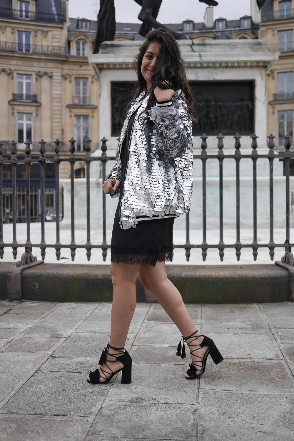 petite robe noire veste sequins asos
