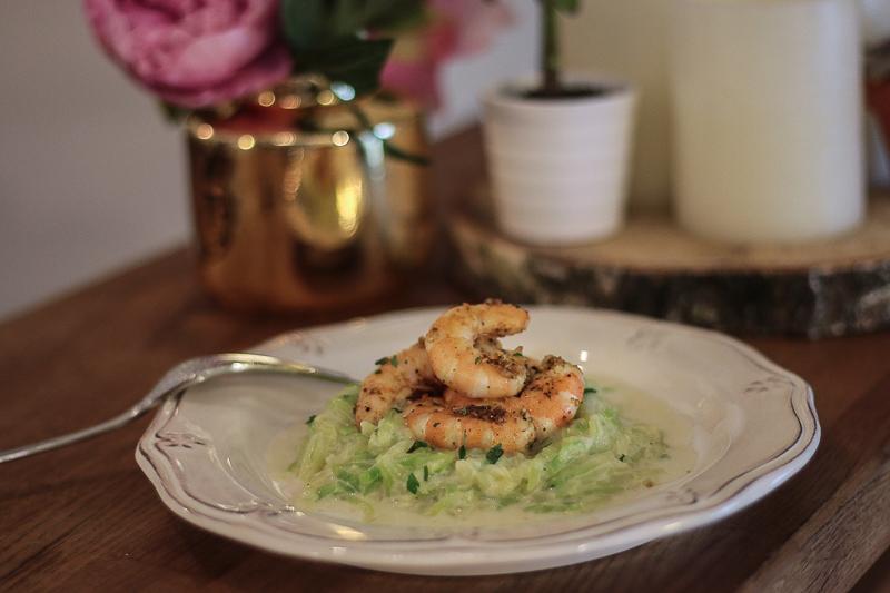 recette healthy tagliatelle courgette crevette
