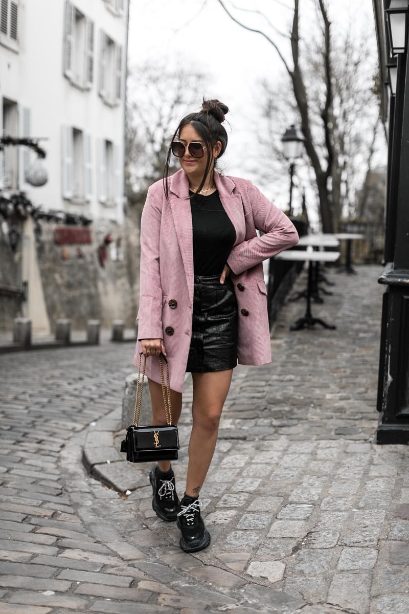 Le blazer rose côtelé