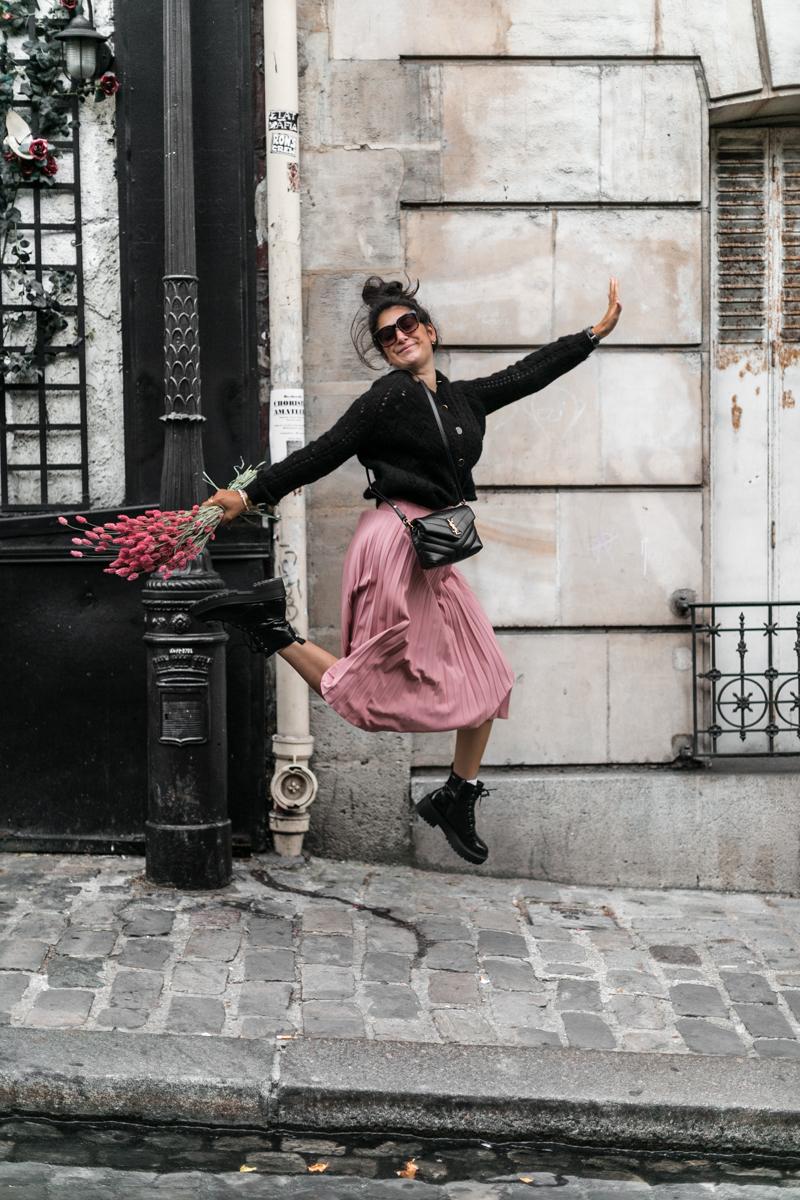 La jupe plissée rose